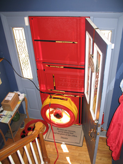 Blower door test for Pekin homes
