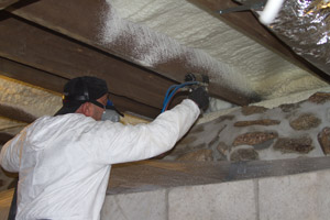 Spray Foam in the crawl space in Morton
